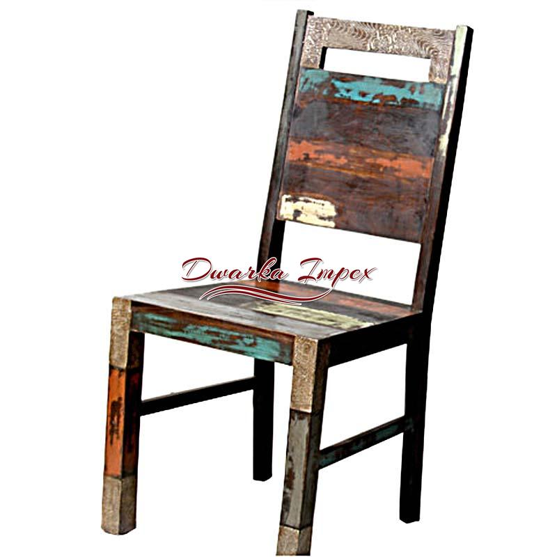 Reclaimed Wood Vintage High Back Chair